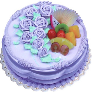蓝色系水果蛋糕