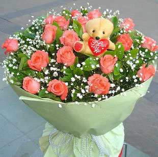 温馨相伴/21支粉色玫瑰