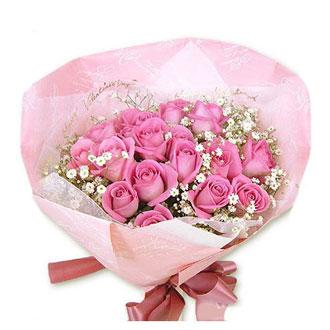 22枝粉色玫瑰/充满幸福的人生