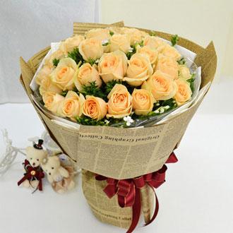 三生缘 33朵香槟玫瑰